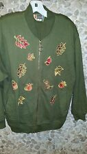 SALE!  EVR  misses olive jacket w/leaves embroidered  front size S only $ 16.99!