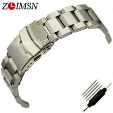 Stainless Steel Watch Band Strap Bracelet Silver Straight End Curved Link 20mm