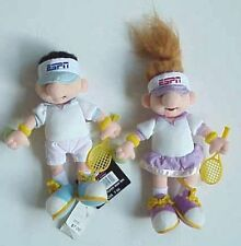 2 ESPN TENNIS PLAYER BOY & GIRL BEAN BAG PLUSH TOY DISNEY