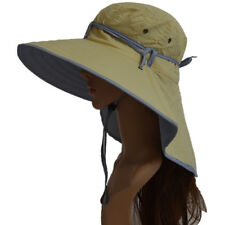 Khaki Woman Wide Brim UV Protection Sun Hat Travel Folding Hiking Fishing Caps