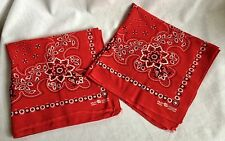 2 Elephant Logo Trunk Up Red Fast Color 100% Cotton Bandanas Vintage