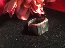 Antique Old Vintage MEXICO 925 Silver W/ Concha Abalone Shell Size 9 Men's Ring