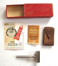 Vintage Valet Auto Strop Safety Razor with Box Leather Strop and Instructions