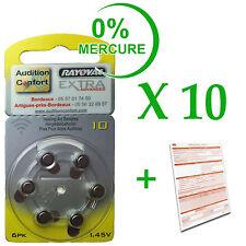 10 plaquettes de 6 piles auditives RAYOVAC N° 10  (PR70) 0% mercure