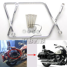 Chrome Saddle Bag Support Bar Bracket Mount Kit F Yamaha V-Star XVS 1100 Custom