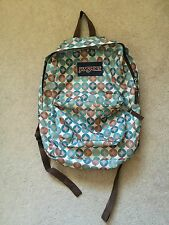 Jansport Multi Pocket Adjustable Strap Blue & Brown Patterned Backpack Bookbag
