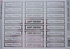 24 HAPPY BIRTHDAY die cut banners (#115G)- white/silver