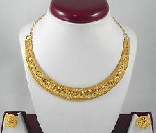 Indian Fashion Jewelry Christmas Gift # ! Gold Plated Necklace Earrings set # !