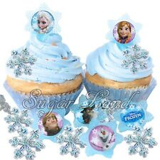 24 Disney Frozen Cupcake/Cake Decorating Supplies Pops Snowflake Rings Favors