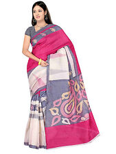 Winza Designer Bhagalpuri Cotton Silk Red & Multi Colour Printed Saree
