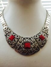 "Simulated Ruby Designer Stunning Necklace 17-19""Ajustable"