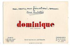 Buvard publicitaire vêtement magasin Dominique Paris