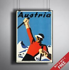 A3 Large AUSTRIA POSTER Vintage Snowboard Picture Travel Advertising Gloss Print