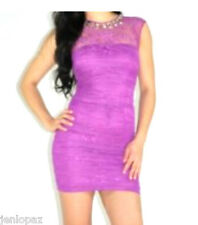 NWT Bebe top crystal purple ruched sheer lace mesh bodycon beaded dress XS 0 2