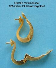 1 Paar Ohrclips mit Schüssel 4 mm 925 Silber vergoldet Ohrclip Schmuckzubehör