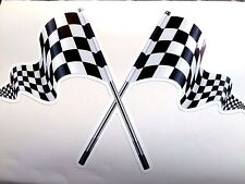 CROSSED CHEQUERED FLAGS Race & Rally F1 Decal Sticker 1 off 200mm
