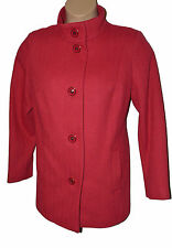 BNWT size 16 CLASSIC by M&S Wool Mix Jacket w MANDARIN STYLE COLLAR in FLAME RED