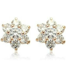 Sparkly rose gold finish snowflake/flower stud earrings quality jewellery UK box