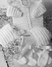 "BABY BOY GIRL KNITTING PATTERN DK PRAM SET JACKET HAT MITTS 16-22"" 41-56cm VINT"