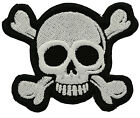Small Skull White and Cross Bones Biker Patch