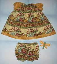 """Handmade Doll Clothes for 23"""" - 24"""" Baby Dolls - """"Love Kitty"""" Gold Dress Set"""
