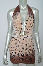 Bebe Silk Stretch Halter Deep V Neck Cream Black Animal Plunge Tank Top Dress XS