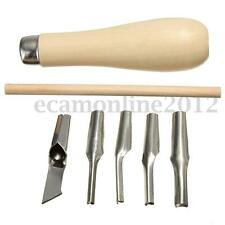 New Lino Block Cutting Rubber Stamp Carving Tools +5 Blade Bits For Print Making