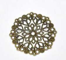 50 Bronze Tone Filigree Flower Wraps Connector Embellishments Findings 35mm