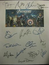The Avengers Signed Film Script X15 Chris Evans Hemsworth Downey Ruffalo reprint