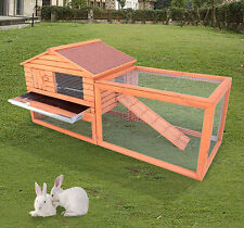 "62"" Wooden Rabbit Hutch Chicken Coop House Bunny Hen Pet Animal Backyard Ru"