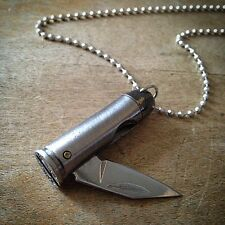 Bullet Knife Pendant Necklace Silver 44 Magnum Charm, Jewelry Miniature Folding