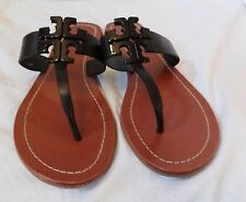 Tory Burch Moore 2 Leather Thong Sandals Black Logo Size 8