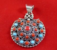 925 Sterling silver Pendant Turquoise Coral  Asian Handmade Antique  Jewelry