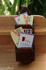 Miniature Dollhouse FAIRY GARDEN Accessories ~ Wood Wall Mail Holder ~ NEW