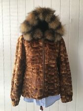 2016 FUR COLLECTION NWOT SEMI SHEARED MINK FUR JACKET W CRYSTAL FOX SIZE 14