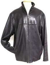 BENCH LEATHERWEAR MENS BLACK GLOVE LEATHER JACKET FULL ZIP FRONT BISNESS CASUA L