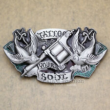 Vintage Silver Alchemy Tattoo Gun Needle Machine Artist Bird Rodeo Belt Buckle