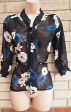 PRIMARK BLACK BLUE YELLOW FLORAL TIE NECK CHIFFON BLOUSE T SHIRT TUNIC TOP 8 S
