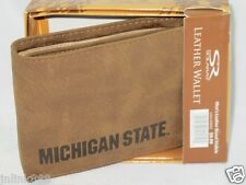 New $9.99 Solaray Michigan State Bifold Men's Genuine Leather Wallet-Tan