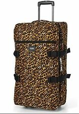 Victoria's Secret PINK~Vacay Wheelie~ roller duffle suitcase Luggage  LEOPARD