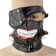 Tokyo Ghoul Kaneki Ken Anime Halloween Party Prop Blk Zipper Mask Adjustable