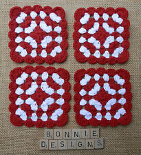 x4 RED/WHITE HandCrochet COASTERs Shabby Chic Christmas Gift Home Accessories
