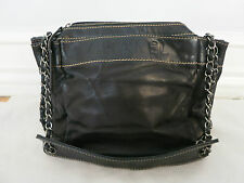 CHANEL black leather shoulder bag w/chain strap