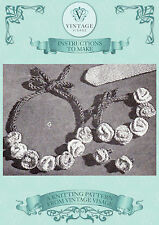 Vintage 1940s knitting pattern-pretty & easy flower necklace,bracelet, earrings