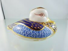ROYAL CROWN DERBY DUCK PAPERWEIGHT, BLUE IMARI STYLE, WHITE STOPPER