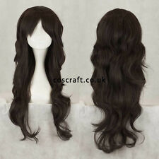 Long wavy curly cosplay wig with fringe, natural black, UK seller, Charlie style