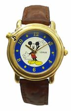 Lorus' Disney Musical Watch w/ Mickey in Gold Tone Case & Brown Leather Band