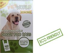 200 Pet world Biodegradable Dog Poo Bags Good Quality Strong With Tie Handles