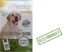 1000 PET mondo biodegradabile DOG Poo BAGS Buona Qualità Forte con maniglie TIE
