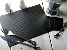 Set of 10 BLACK EMBOSSED Bonded Leather PLACEMATS & 10 COASTERS (20 Piece Set)